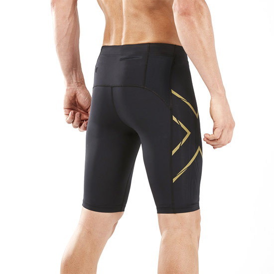 2XU MCS Run Mens Compression Shorts (Black-Gold Reflective)