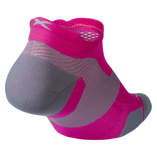 2XU Vectr Light Cushion No Show Socks (Magenta-Light Grey)