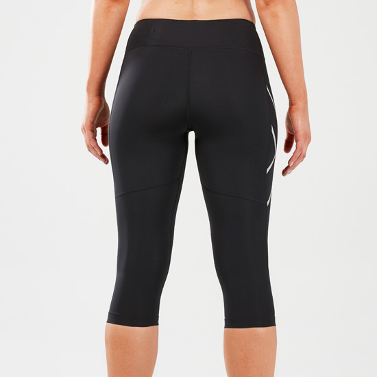 2XU Reflective Womens Mid-Rise Three-Quarter Compression Tights (Black-Silver Reflective)