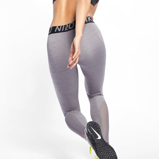 Nike Pro Womens Tights (Gunsmoke-Heather-Black)