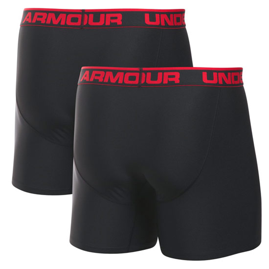 "Under Armour O Series 6"" Boxerjock 2-Pack (Black)"
