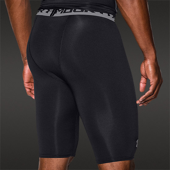 Under Armour HeatGear Compression Mens Long Shorts (Black-Steel)