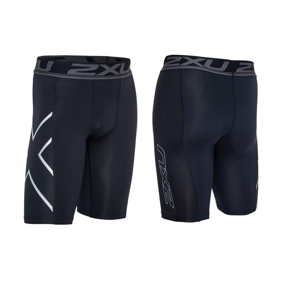 2XU Accelerate Mens Compression Shorts (Black-Silver)