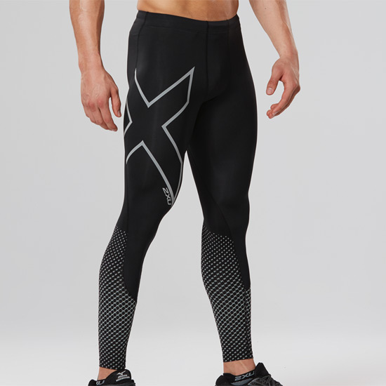 2XU Reflect Compression Mens Tights (Black-Silver Reflective)