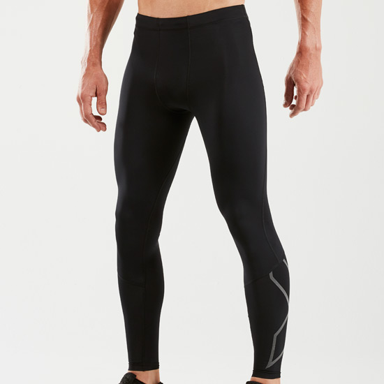2XU Reflective Mens Compression Tights (Black-Black Reflective)