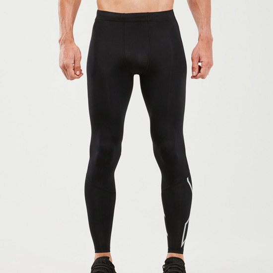 2XU Reflective Mens Compression Tights (Black-Silver Reflective)
