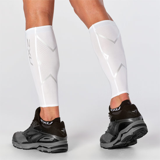 2XU Compression Calf Guards (White-White)