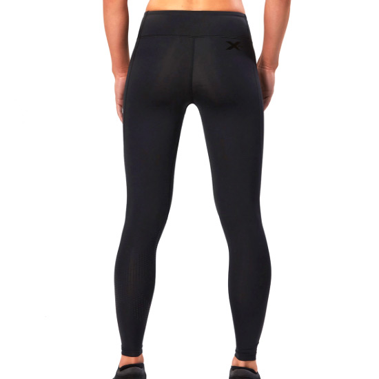 2XU Womens Mid Rise Compression Tights (Black-Dotted Black Logo)