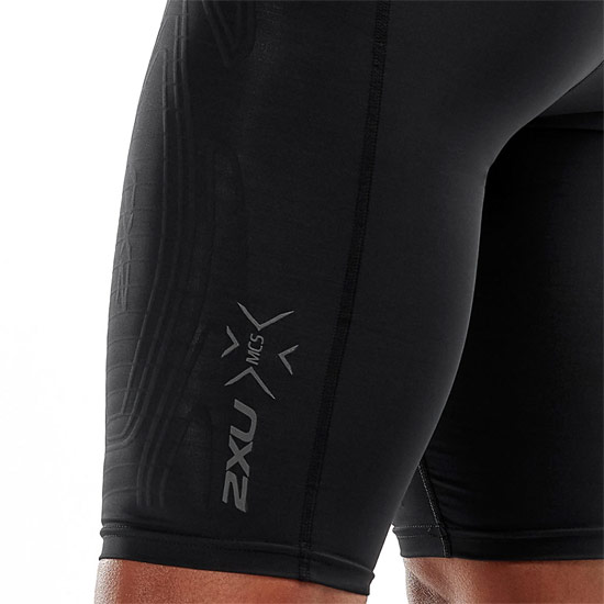 2XU MCS Run Mens Compression Shorts (Black-Black Reflective)