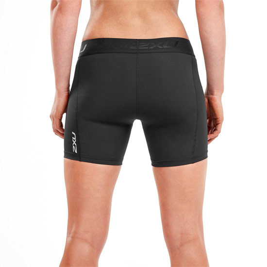 "2XU Accelerate Womens 5"" Compression Shorts (Black-Silver)"