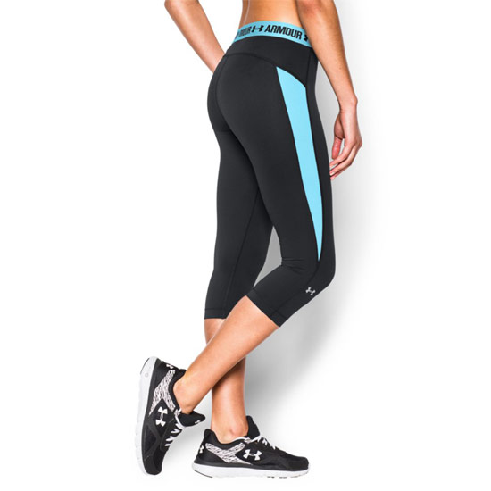 Under Armour CoolSwitch HeatGear Womens Capri (Black-Sky Blue)