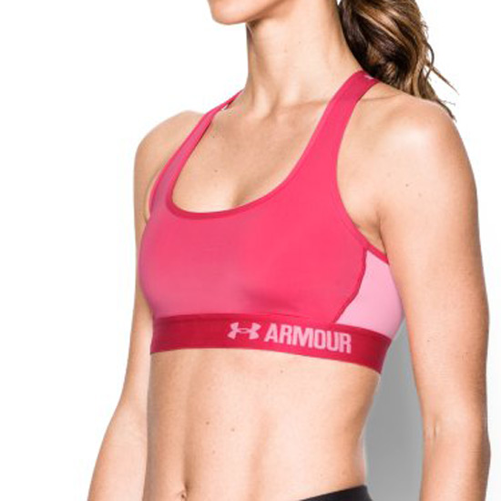 Under Armour Heat Gear Crossback Mid Impact Bra (Pink Sky)
