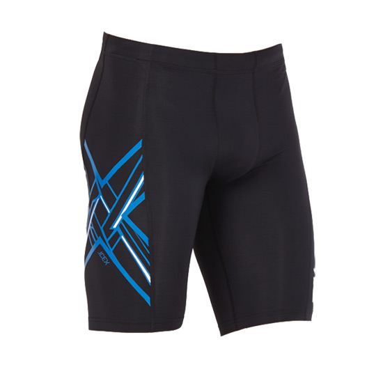 2XU Ice X Compression Mens Shorts (Black-Lapis Blue-White)