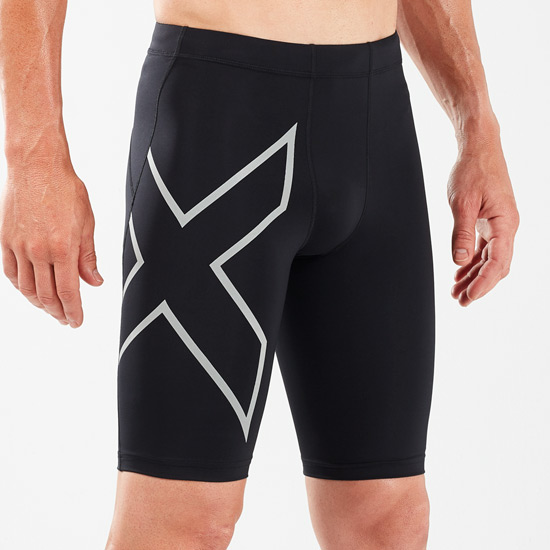 2XU Reflective Mens Compression Shorts (Black-Silver Reflective)