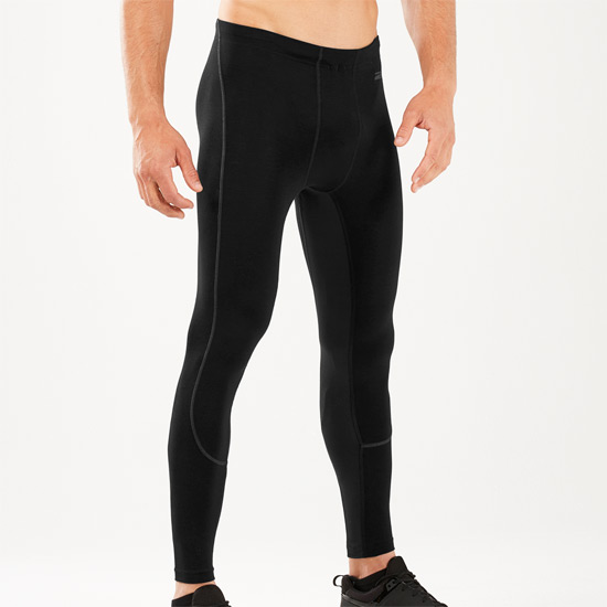 2XU Mens Heat Run Tights (Black-Black)