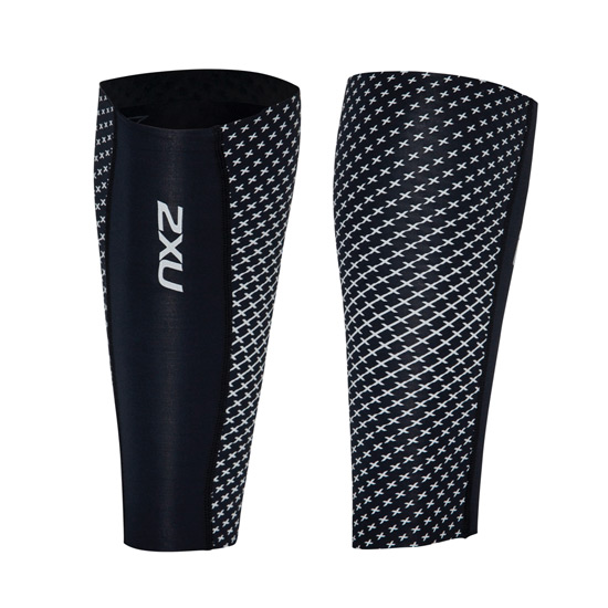 2XU Reflect Compression Calf Guards (Black-Silver Reflective)