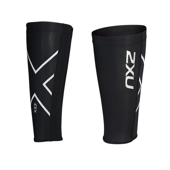 2XU Ice X Compression Calf Guards (Black-Metallic White)