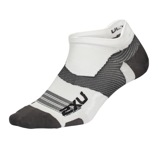 2XU Vectr Ultralight No Show Socks (White- Grey)