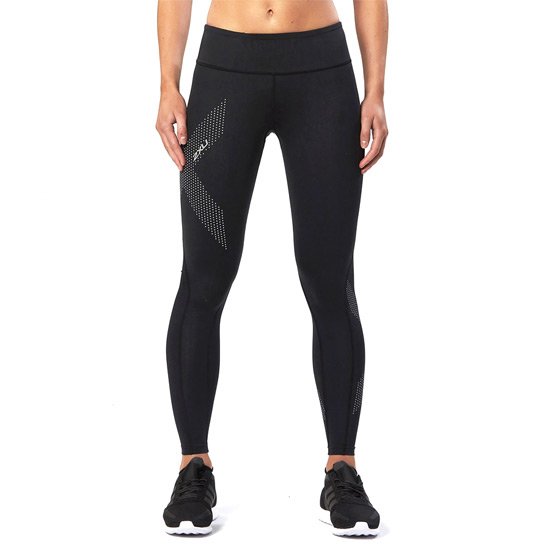 2XU Mid-Rise Womens Compression Tights (Black-Dotted Reflective)