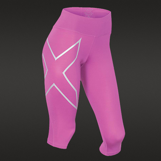 2XU Womens Mid Rise Compression Three Quarter Tights (Magenta-Silver)