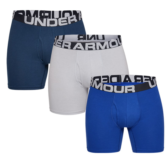 "Under Armour Charged Cotton 6"" Mens Boxerjock (Royal-Academy-Mod Gray-Medium Heather) 3 Pack"