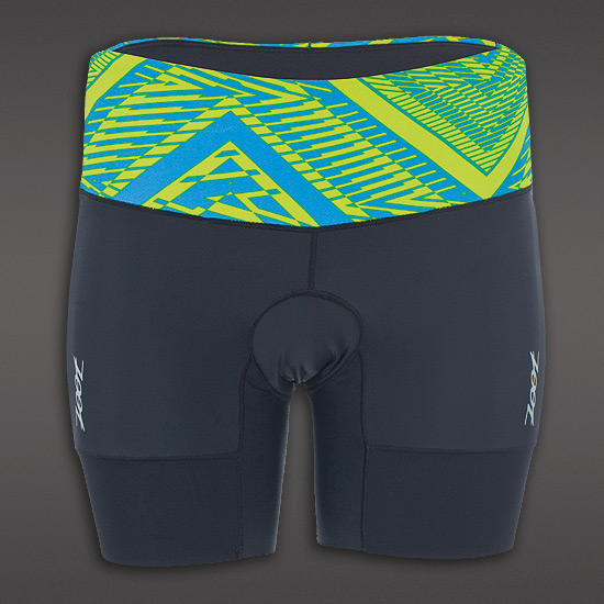 "Zoot Performance Womens 6"" Triathlon Shorts (Black-Tribal)"