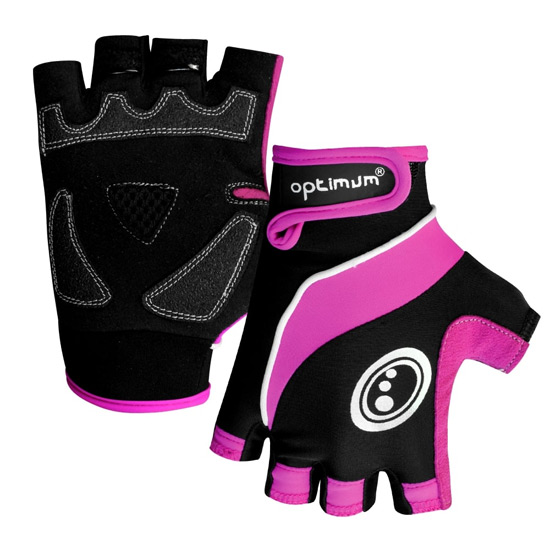 Optimum Womens Half Finger Gloves (Black-Pink)